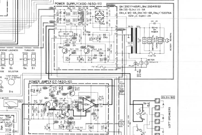 Kenwood KA-8300 power supply schematics