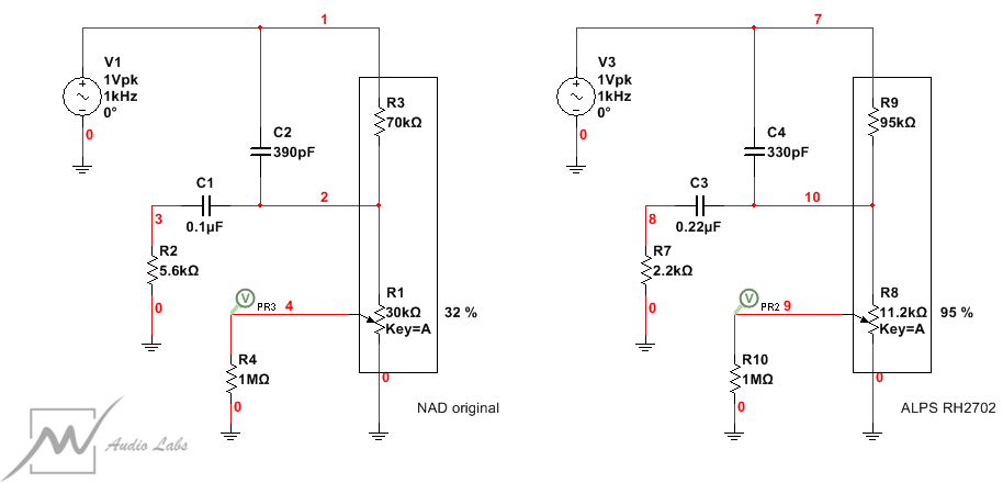 NAD 3080 Modified Loudness Circuit Schematics